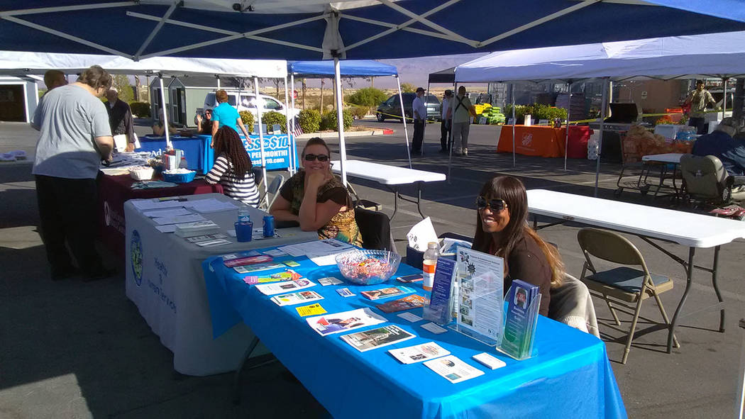 Selwyn Harris/Pahrump Valley Times  Officials from NyE Communities Coalition was one of more than the two-dozen vendors on hand for the 2017 Pahrump Veterans Stand Down.