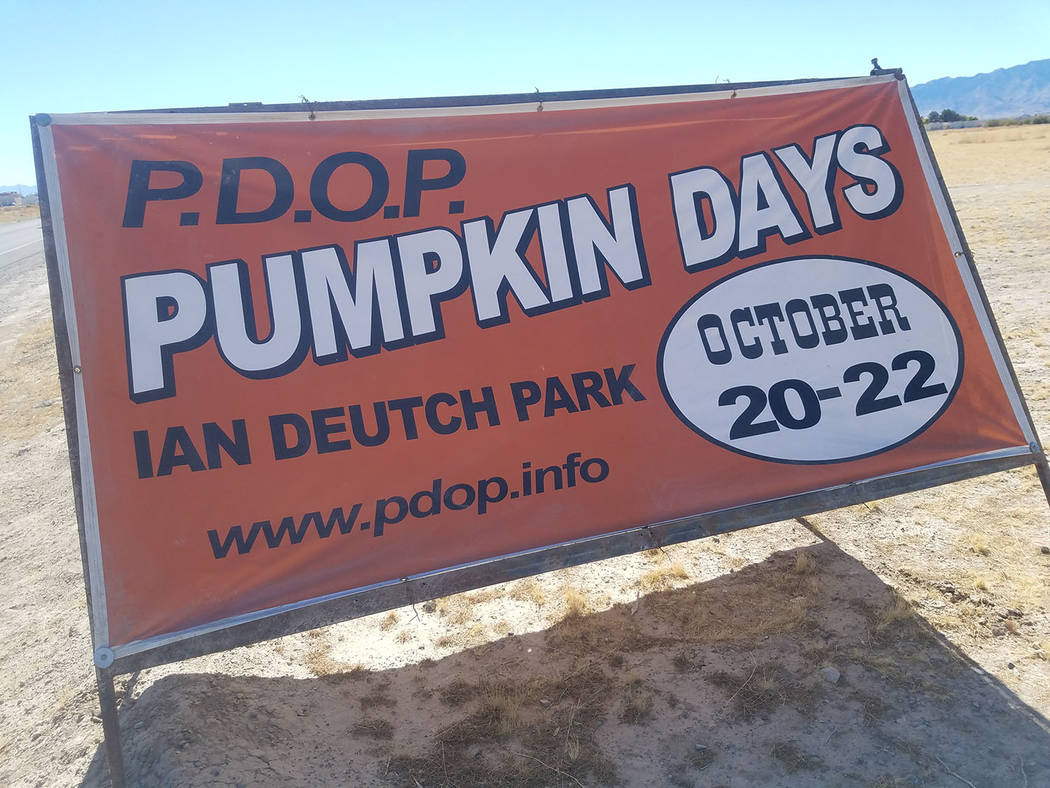 David Jacobs/Pahrump Valley Times A sign in Pahrump promotes Pumpkins Days, held Oct. 20-22 at Ian Deutch Memorial Park in Pahrump.