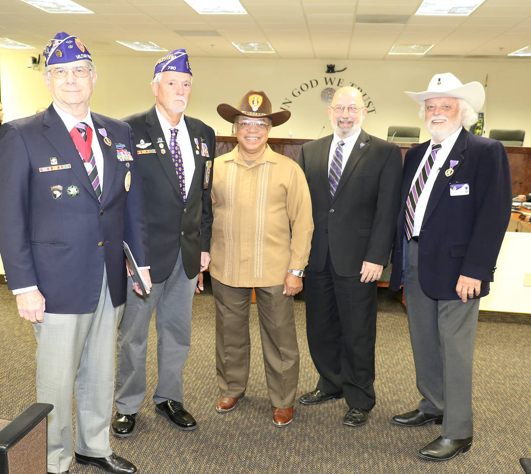 Special to the Pahrump Valley Times - Nye County commissioners adopted a proclamation designating Pahrump as the first Purple Heart town and Nye County as the first Purple Heart county in the stat ...