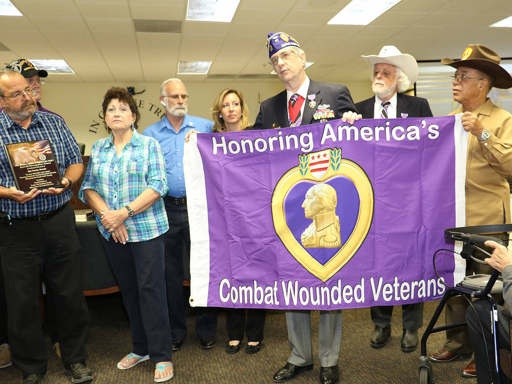 Special to the Pahrump Valley Times - According to the Military of the Purple Heart website, there are more than 410 Purple Heart counties, cities and towns across the United States. Nye is the fi ...