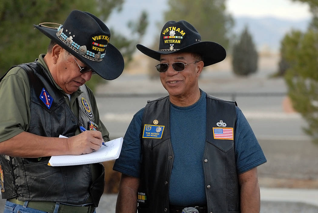Horace Langford Jr./Pahrump Valley Times  This photo shows Dr. Tom Waters (right) with Jose Teles. Dan Peterson, Chapter 730 commander, said he was invited by Waters to be a speaker at the Pahrump ...