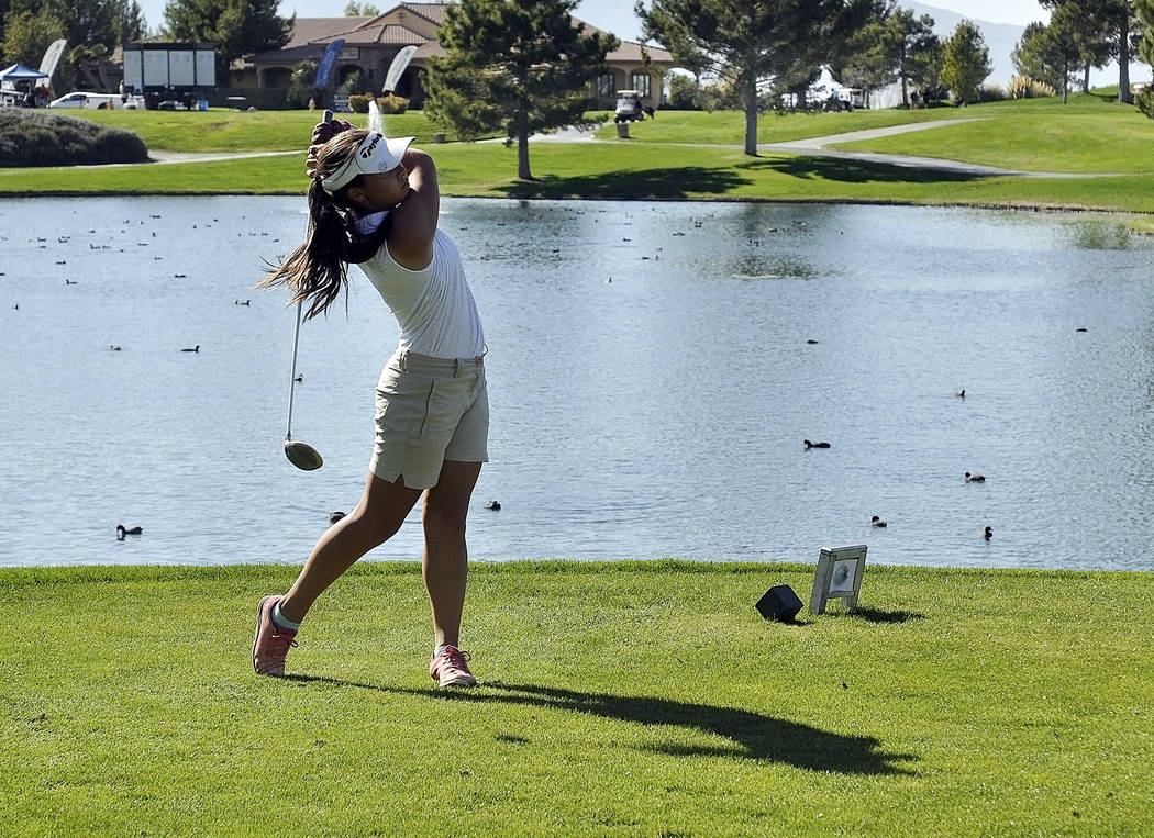 Horace Langford Jr./Pahrump Valley Times  Breanne Nygaard on hole 10 at Mountain Falls. She came in fourth place in her first state tournament as a freshman and her efforts helped Pahrump Valley s ...