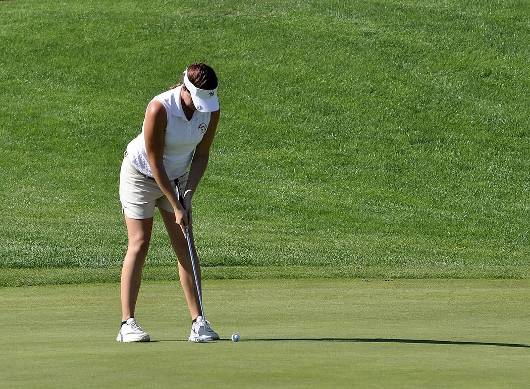 Horace Langford Jr./Pahrump Valley Times  Makalea Petrie finishes strong on the back nine of Mountain Falls on Thursday. She shot her best golf ever at state, scoring two 87s for the two-day tourn ...
