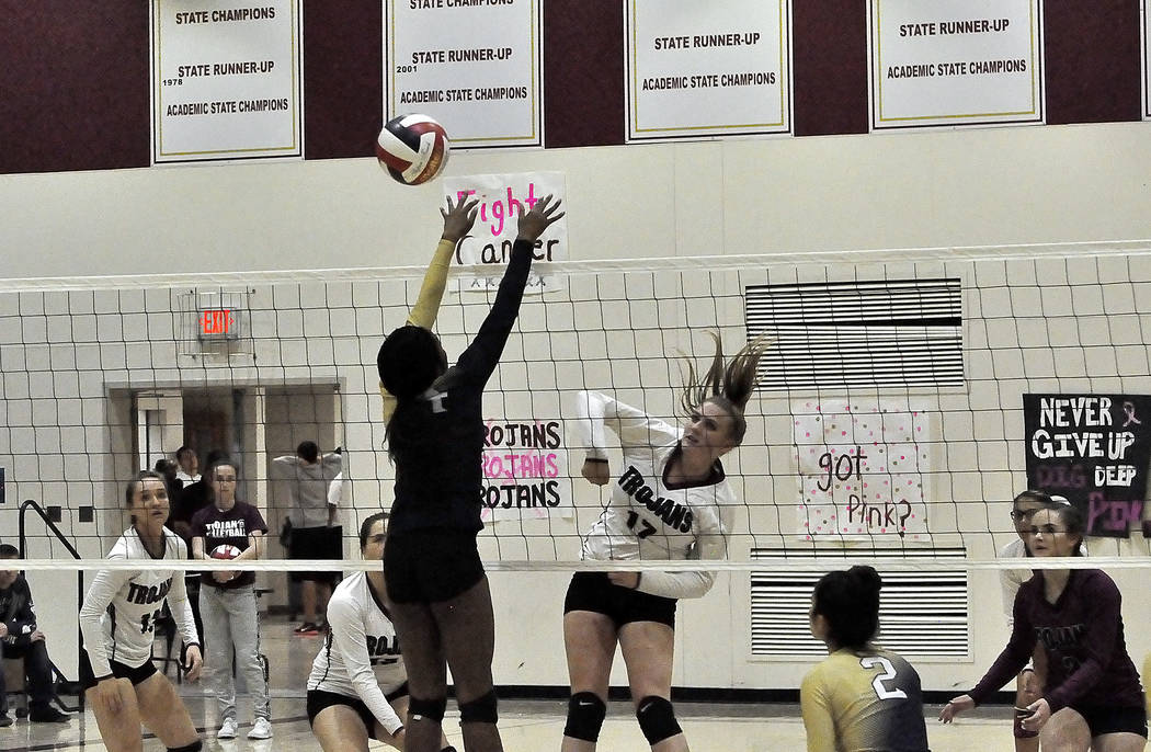 Horace Langford Jr./Pahrump Valley Times  Sophomore middle blocker Kylie Stritenberger unleashes a powerful hit on Cheyenne in Monday night's game. Stritenberger had 13 kills and seven blocks fo ...