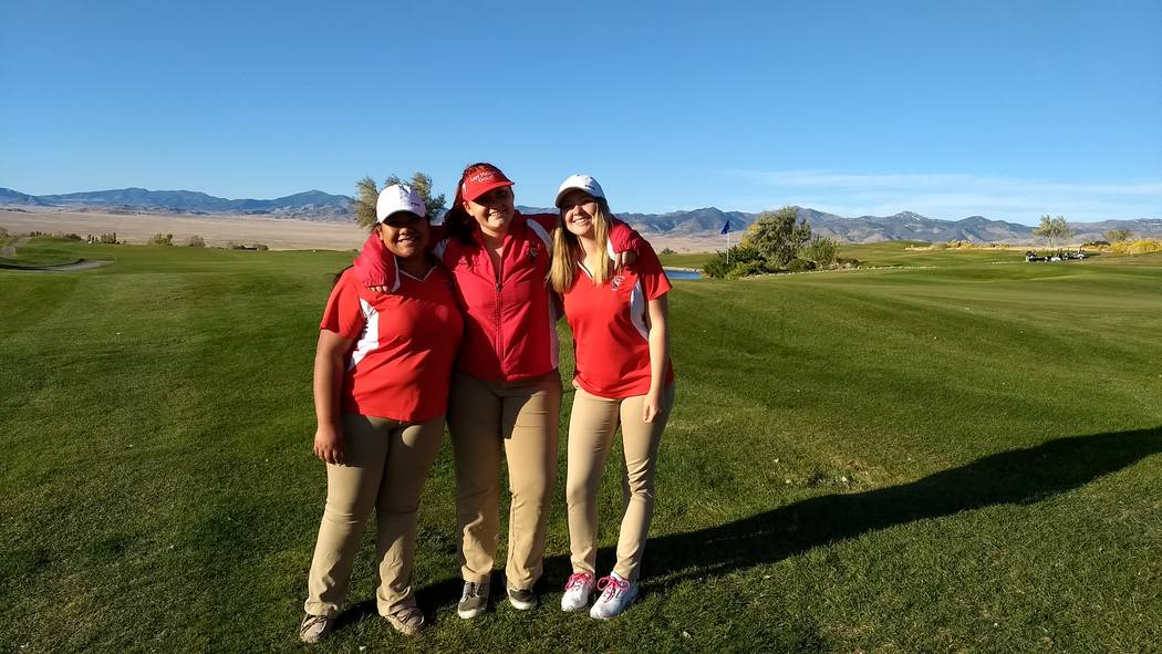 Penny Otteson/Special to the Pahrump Valley Times Members of the Tonopah girls golf team that went to the Nevada Class 2A State Golf Championship at West Wendover, at the Toana Vista Golf Course o ...