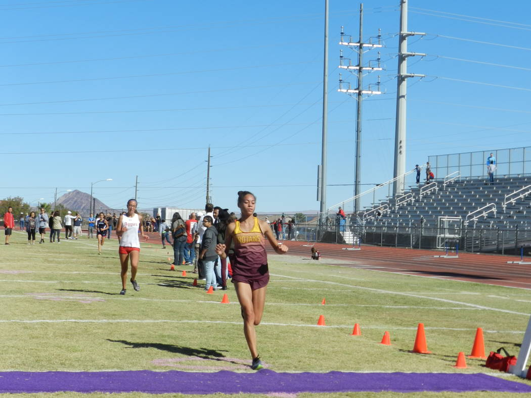 Special to the Pahrump Valley Times Trojans sophomore runner Diamond Sonerholm (21:44) took third, junior Katherine Goodman (22:02) was fourth. The Pahrump girls as a team finished second to Deser ...