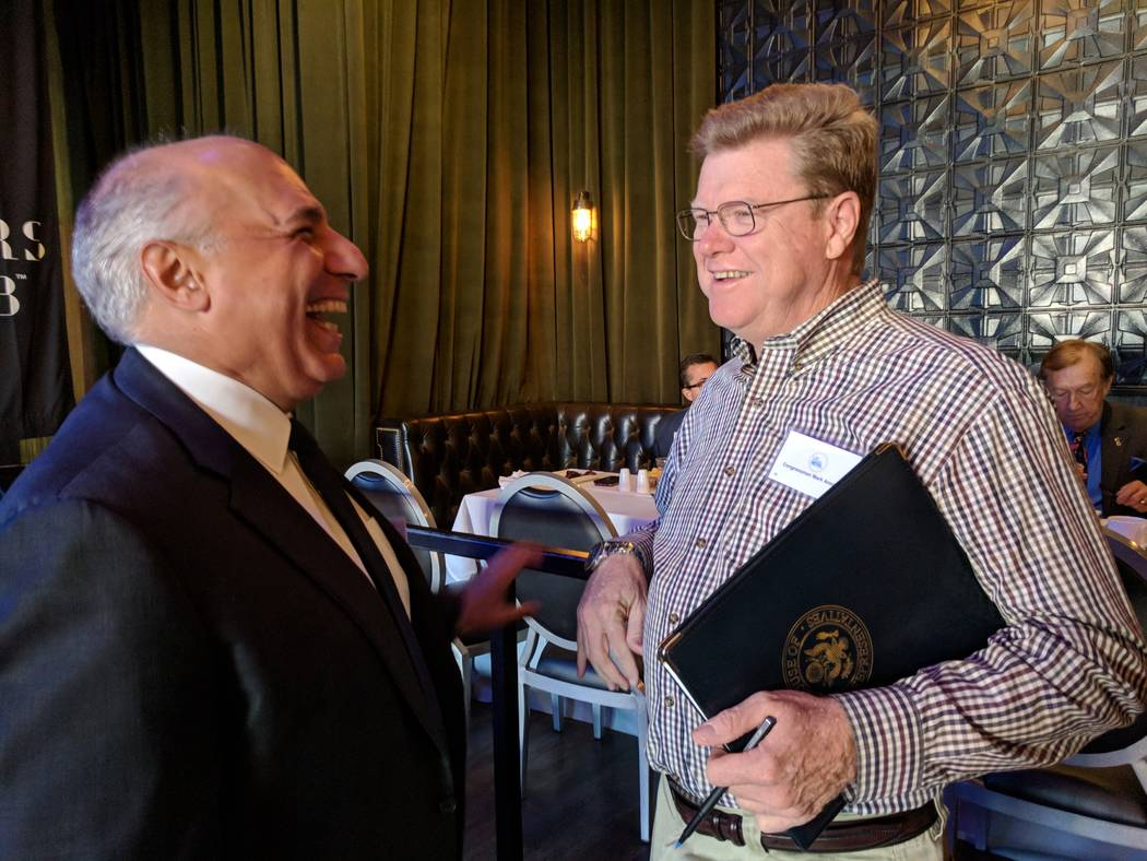 Colton Lochhead/Las Vegas Review-Journal U.S. Rep. Mark Amodei, R-Carson City, chats with Las Vegas City Councilman and 2018 Congressional candidate Stavros Anthony on Oct. 20, 2017 before a Las V ...