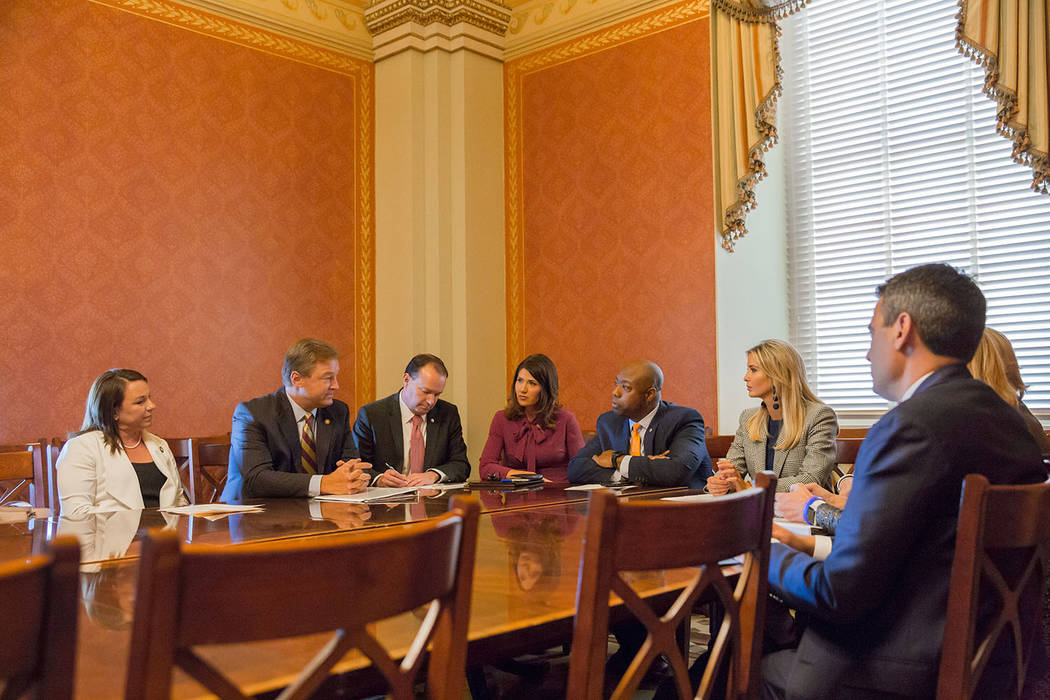Special to the Pahrump Valley Times U.S. Sen. Dean Heller, R-Nevada, (second from left) speaks with Ivanka Trump, a daughter of President Trump, and others during a meeting Wednesday in Washington ...