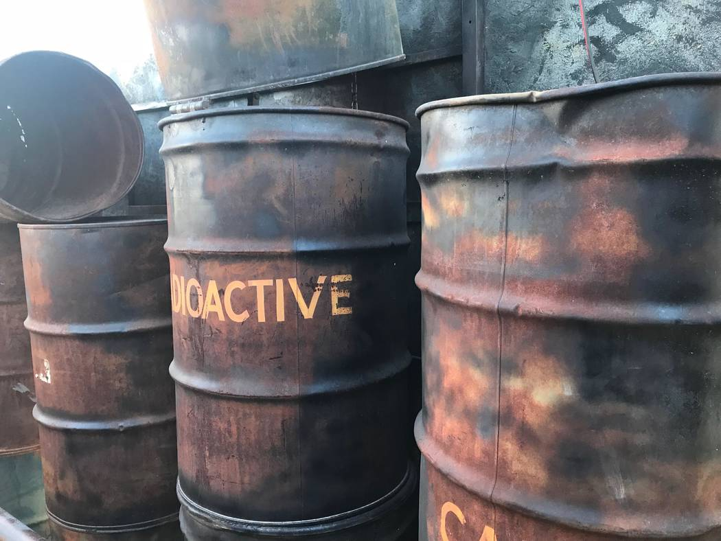 Jeffrey Meehan/Pahrump Valley Times A group of 50-gallon drums sits inside the site of a haunted house at 560 Starlight Drive, just off of S. Blagg Road and north of Gamebird Road. What looks like ...