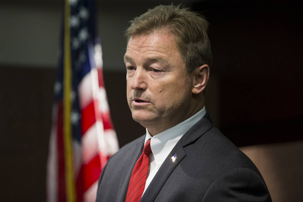 Erik Verduzco/Las Vegas Review-Journal U.S. Sen. Dean Heller, R-Nevada, during a press conference where he announced he will vote no on the proposed GOP healthcare bill at the Sawyer Building on F ...