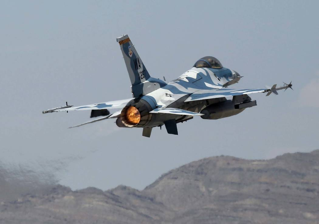Special to the Pahrump Valley Times An F-16 Aggressor jet takes off from Nellis Air Force Base for training flight on Wednesday, July 26, 2017, in Las Vegas.