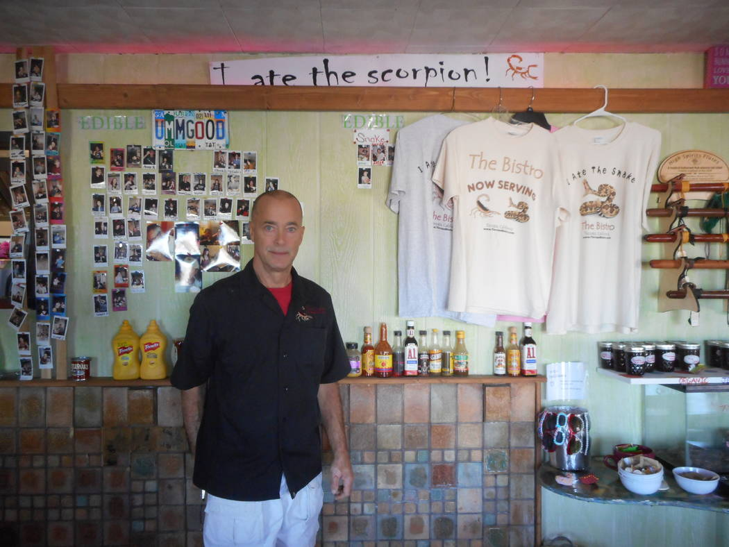 Provided by Robin Flinchum/Special to the Pahrump Valley Times Times are changing here and a restaurant renaissance is underway in Tecopa. Ed Thomas of the Tecopa Bistro, standing by the scorpion  ...