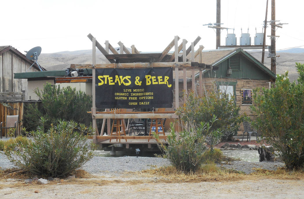 Provided by Robin Flinchum/Special to the Pahrump Valley Times Outdoor view of Steaks and Beer showing the patio over the fishpond. In Tecopa overall, offerings in the community now include a lot  ...