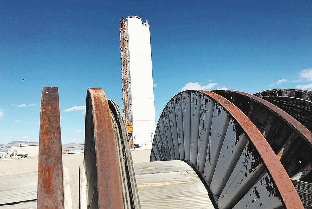 Keith Rogers/Las Vegas Review-Journal file  The Icecap tower stands behind diagnostic cable reels Jan. 11, 2017, relics of full-scale nuclear weapons tests that were put on hold in 1992 at the Nev ...
