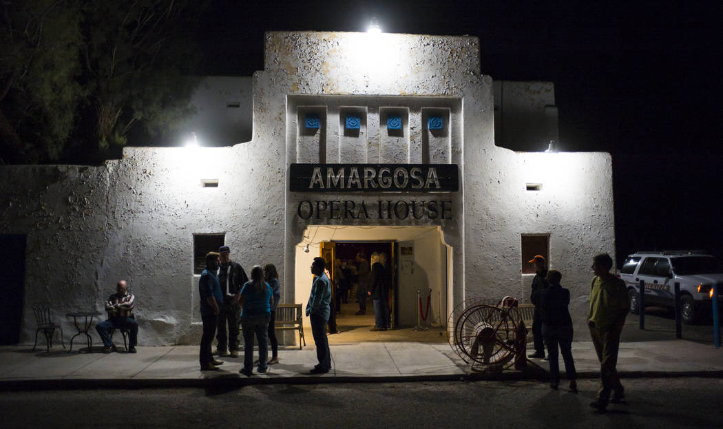 Attendees outside of the Amargosa Opera House following the season-opening performance in Death Valley Junction, Calif. on Friday, Oct. 20, 2017. Chase Stevens Las Vegas Review-Journal @csstevensphoto