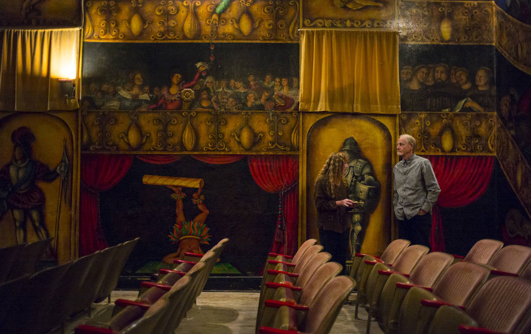 Christine and William Eaton of Sedona, Ariz. take in the painted scenes of the Amargosa Opera House following the season-opening performance in Death Valley Junction, Calif. on Friday, Oct. 20, 20 ...