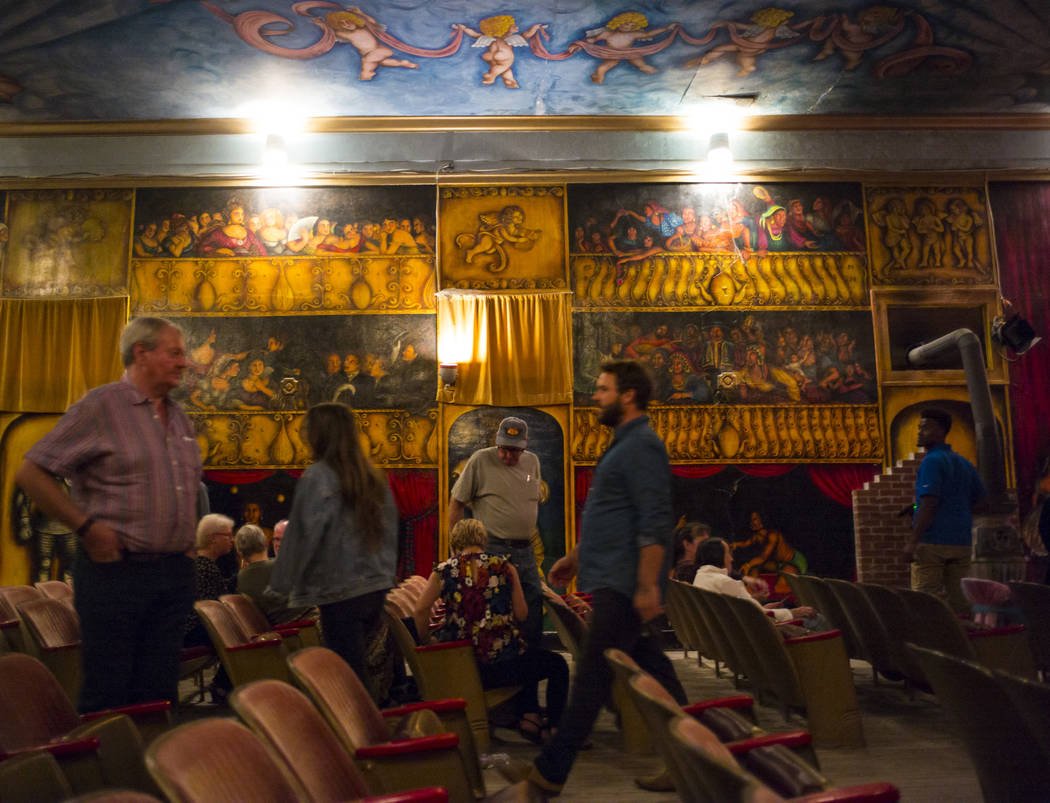 Attendees make their way out of the Amargosa Opera House following the season-opening performance in Death Valley Junction, Calif. on Friday, Oct. 20, 2017. Chase Stevens Las Vegas Review-Journal  ...