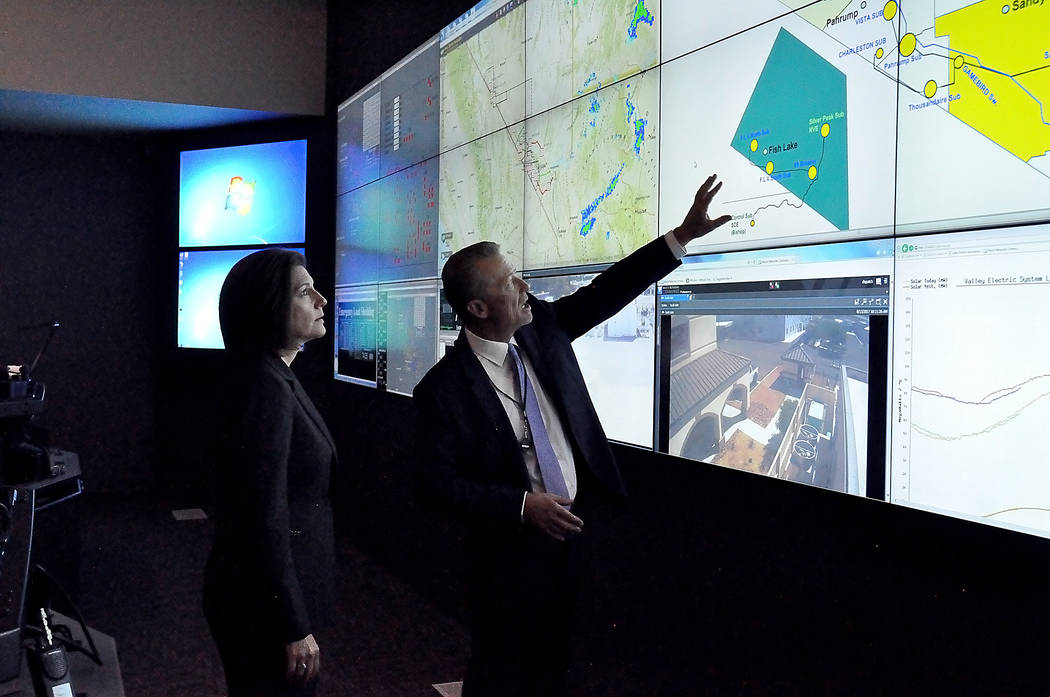 Horace Langford Jr./Pahrump Valley Times U.S. Sen. Catherine Cortez Masto,D-Nevada, touring Valley Electric with CEO Tom Husted in the control room earlier this year.