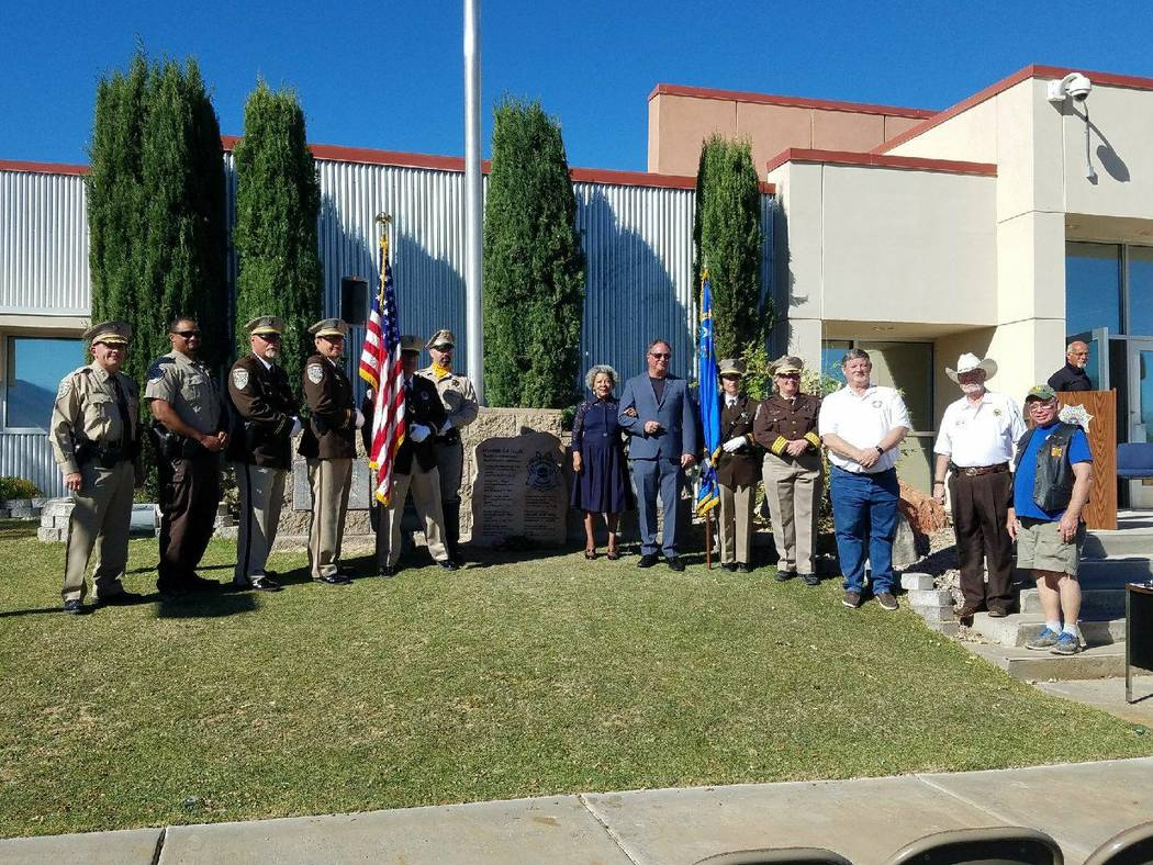 Richard Stephens/Special to the Pahrump Valley Times Nye County Sheriff Sharon Wehrly attended Beatty Days and joined in the dedication of a memorial to fallen officers.