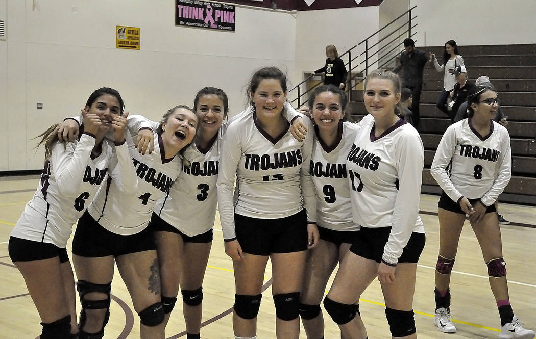 Horace Langford Jr./Pahrump Valley Times  Trojans coach Jill Harris said the victory over Tech on Tuesday came from a team that wouldn't quit. The team is seen celebrating after a long night of  ...