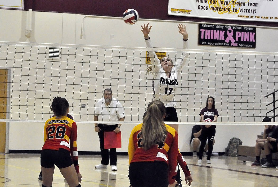 Horace Langford Jr./Pahrump Valley Times  Sophomore middle blocker Kylie Stritenberger is seen going up for a ball against Tech on Tuesday night. She is one of the the main forces that drives the  ...
