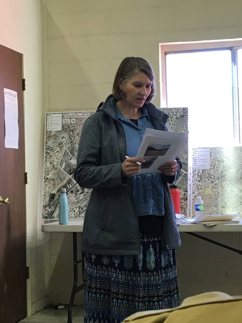Special to the Pahrump Valley Times Andrea Seifert, Public Water System Compliance supervisor at the Nevada Division of Environmental Protection speaks during the Oct. 21 meeting in Belmont.