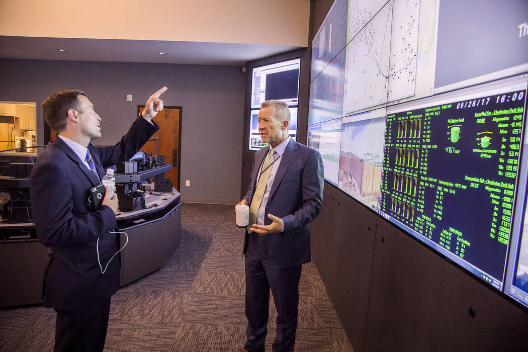 Special to the Pahrump Valley Times  Nevada Attorney General Adam Laxalt talks to Valley Electric CEO Tom Husted in the Valley Electric's control room.