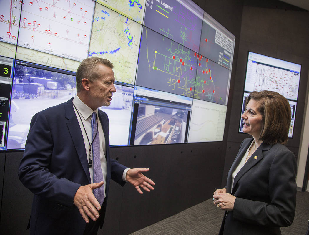 Special to the Pahrump Valley Times U.S. Sen. Catherine Cortez Masto toured Valley Electric Association in August during her first Pahrump visit since she has won a Senate race in November 2016. D ...