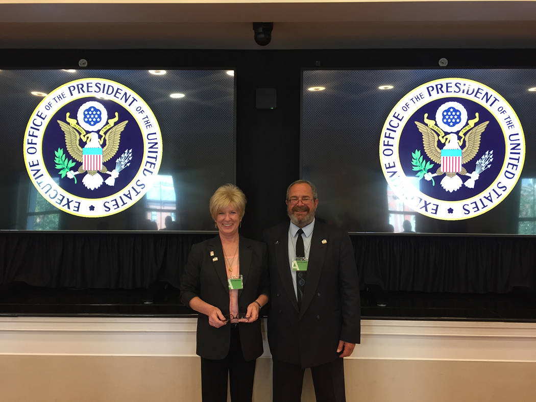 Special to the Pahrump Valley Times Nye County Commissioner Lorinda Wichman and Nye County Commission Chairman Dan Schinhofen shown last week in Washington, D.C. The trip included a visit with Vic ...