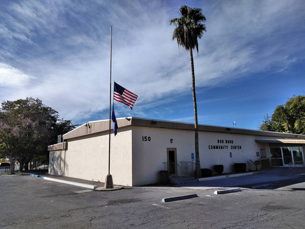 Selwyn Harris/Pahrump Valley Times  Flags in Pahrump were at half-staff on Monday following the mass shooting at the First Baptist Church in Sutherland Springs, Texas on Sunday. At least 26 parish ...