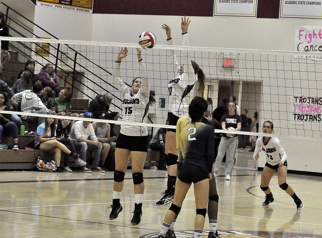 Horace Langford Jr./Pahrump Valley Times The Trojans dynamic duo, Kathryn Daffer and No. 15 Kylie Stritenberger took on all comers this year at the net. Daffer is a freshman and Stritenberger is a ...