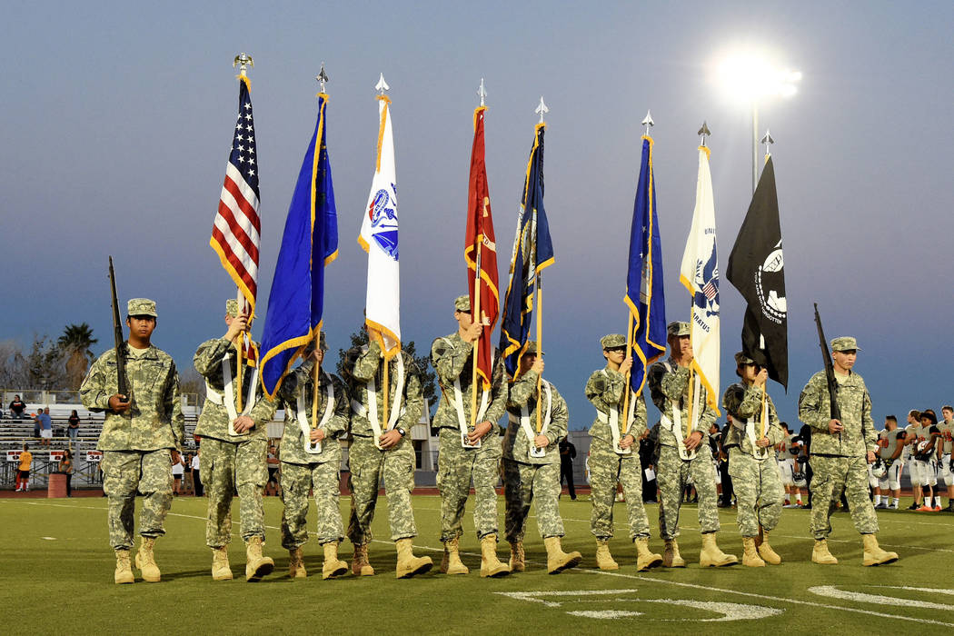 Peter Davis/Special to the Pahrump Valley Times  The Trojans Battalion Junior Reserve Officer Training Corp Color Guard at a football game this year. This Veterans Day the PVT honors those veteran ...