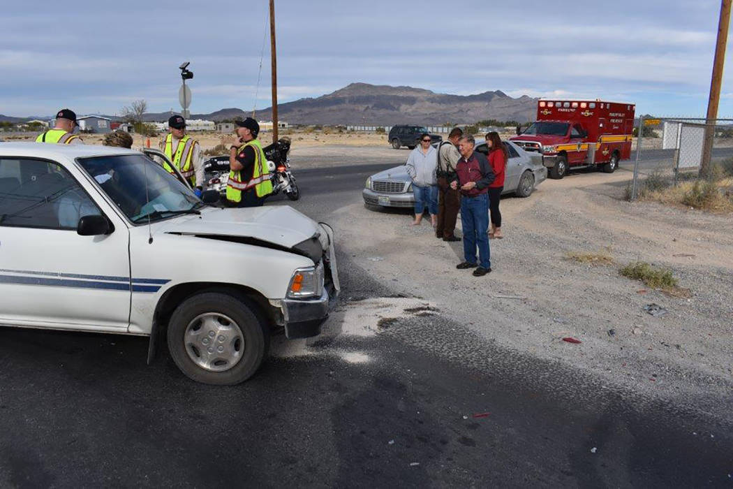 Special to the Pahrump Valley Times Local fire crews were dispatched to the area of of North Blagg Road and East Mesquite for a motor vehicle accident with injuries on Monday. At least one driver  ...