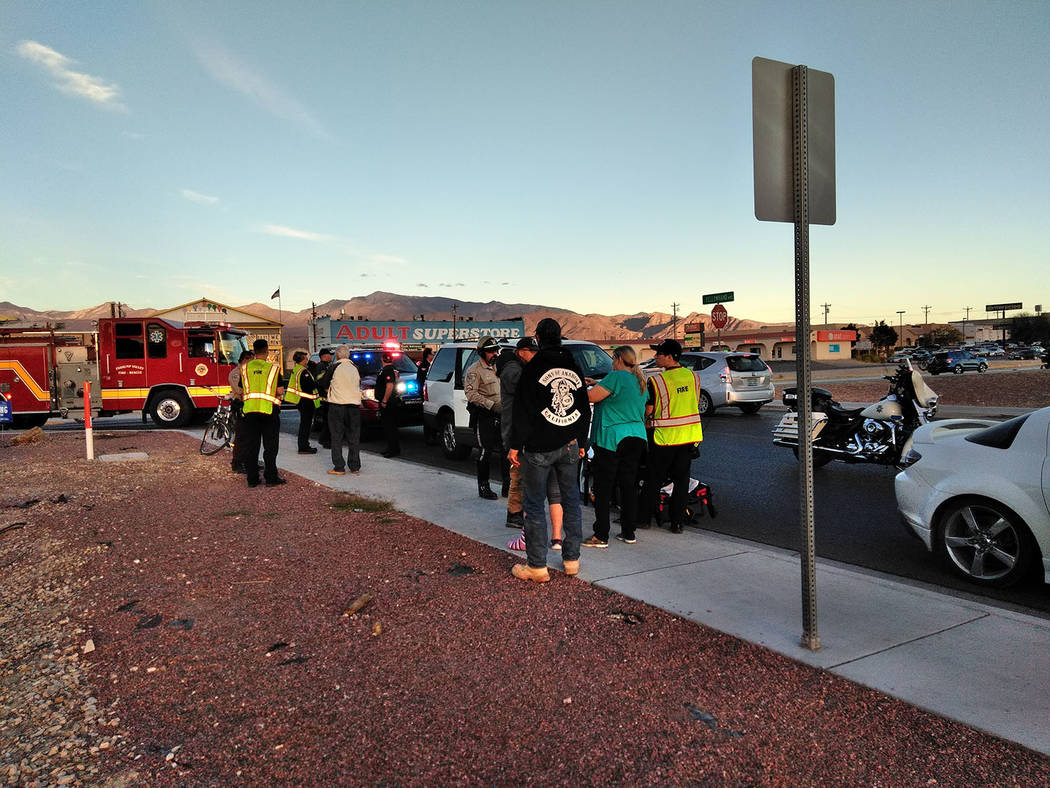 Selwyn Harris/Pahrump Valley Times   No serious injuries were reported following a vehicle versus pedestrian collision at Yellowhand Street, adjacent to Sonic Burgers along Highway 160 late Monday ...