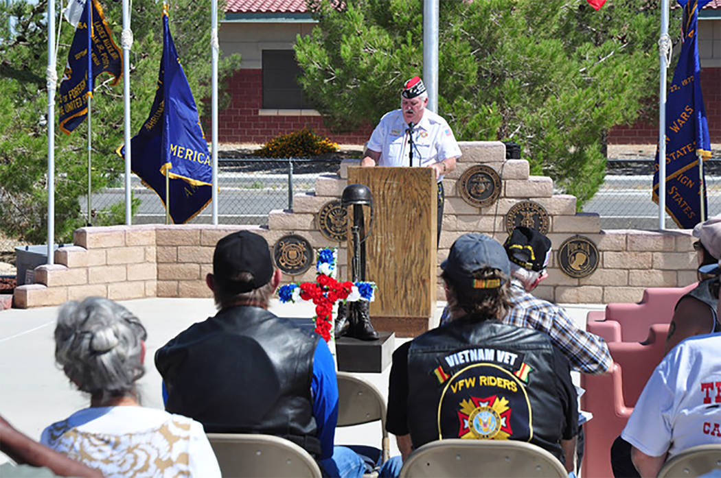 Selwyn Harris/Pahrump Valley Times  VFW Post 10054 Commander Tom Vick delivers an inspiring message to attendees during last year's Veterans Day observance. Vick has been commander of the post s ...