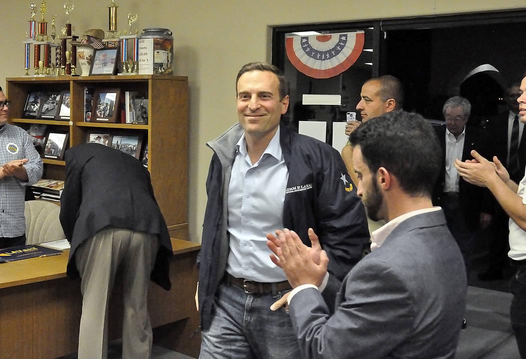 Horace Langford Jr./Pahrump Valley Times -  Adam Laxalt meet and greet, Adam Laxalt arriving at Nye County Republican HQ