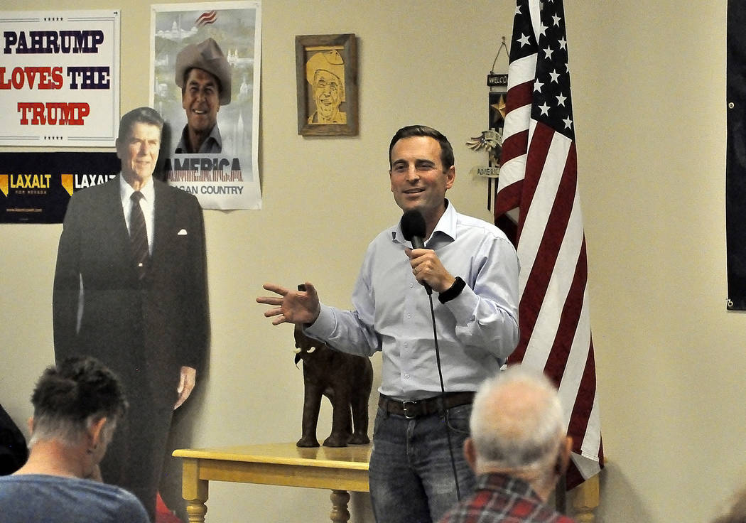 Horace Langford Jr./Pahrump Valley Times -   During his 13-minute speech at the Nye County Republican Headquarters, Nevada Attorney General Adam Laxalt called on those in attendance to become a pa ...