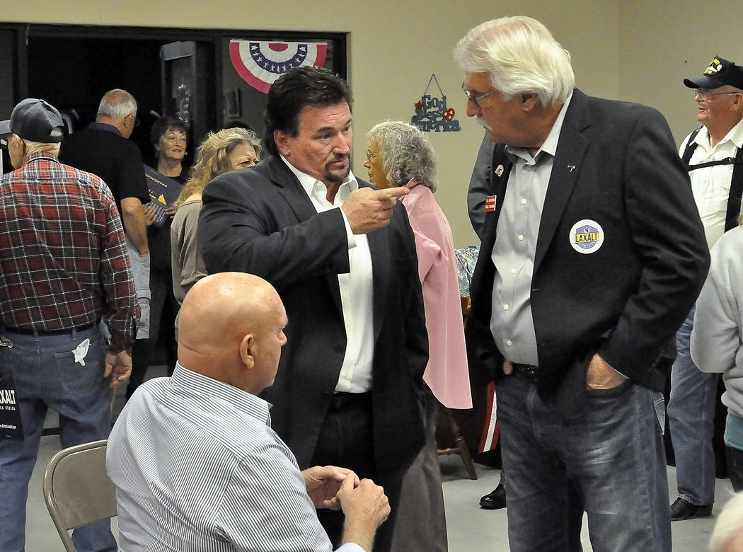 Horace Langford Jr./Pahrump Valley Times -   From left to right: Brothel owner Dennis Hof, Nevada Republican Party Chairman Michael McDonald and Nye County Republican Central Committee Chairman Jo ...