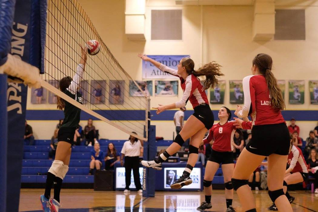 Melissa Jennings/Special to the Pahrump Valley Times  Lauren Klapper goes high against the Hornets in the regional semifinal. The Muckers now face the Northern number one seed Owyhee on Friday at  ...