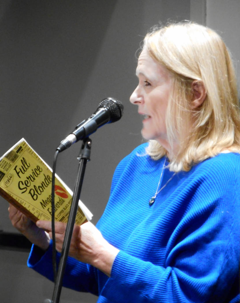 "Megan Edwards reading her novel ""Full Service Blonde"" at the Writer's Block bookstore in Las Vegas on Tuesday, November 7."
