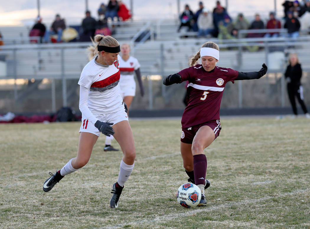 Hans Baumann/Special to the Pahrump Valley Times Senior Sydney Dennis handles the ball for the Trojans. She led the team in goals this year with 19 along with Kaitlyn Carrington who had 18 goals.