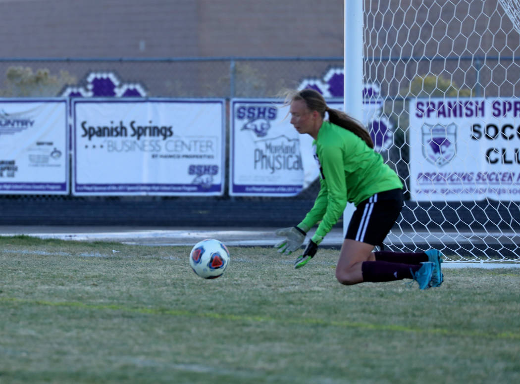 Hans Baumann/Special to the Pahrump Valley Times Senior Alyvia Briscoe saves a goal during the semifinal game against Truckee on Friday. The Trojans finished the year 16-4-4.
