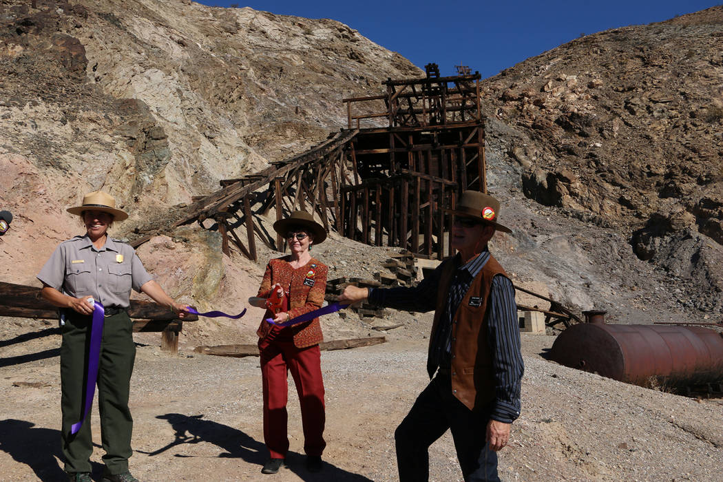 Special to the Pahrump Valley Times Members of the '49ers joined park staff and other visitors as '49ers President Virginia Stockman cut the ribbon and Superintendent Mike Reynolds welcomed pa ...