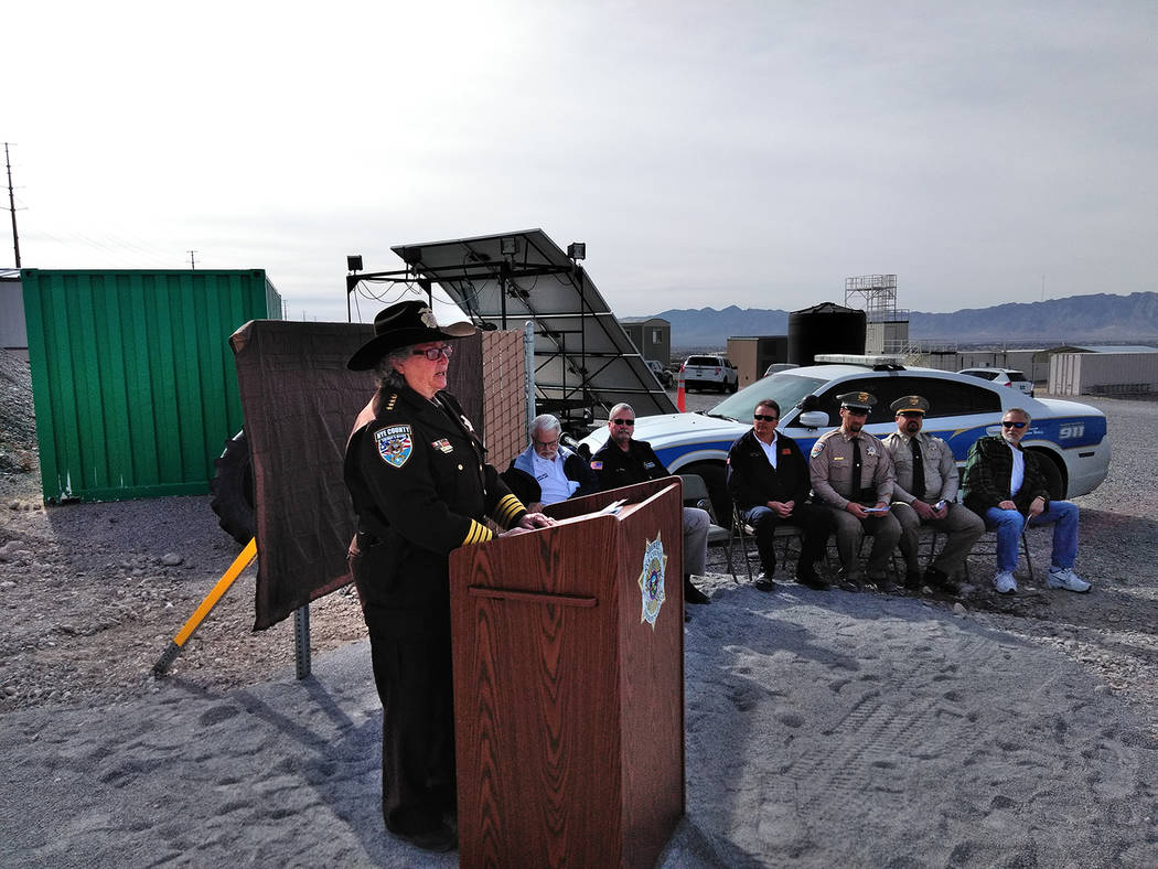 Selwyn Harris/Pahrump Valley Times  Nye County Sheriff Sharon Wehrly addresses attendees at the grand opening of the Sheriff's Office Target Range on Monday. The facility, for law enforcement ag ...