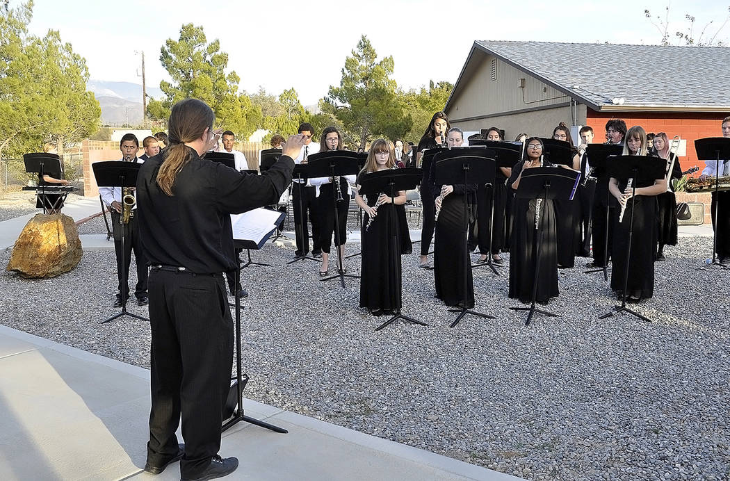 Horace Langford Jr./Pahrump Valley Times -  Veterans Day ceremony held at Chief Tecopa Veterans Memorial Park, music performed by PVHS Marching Band