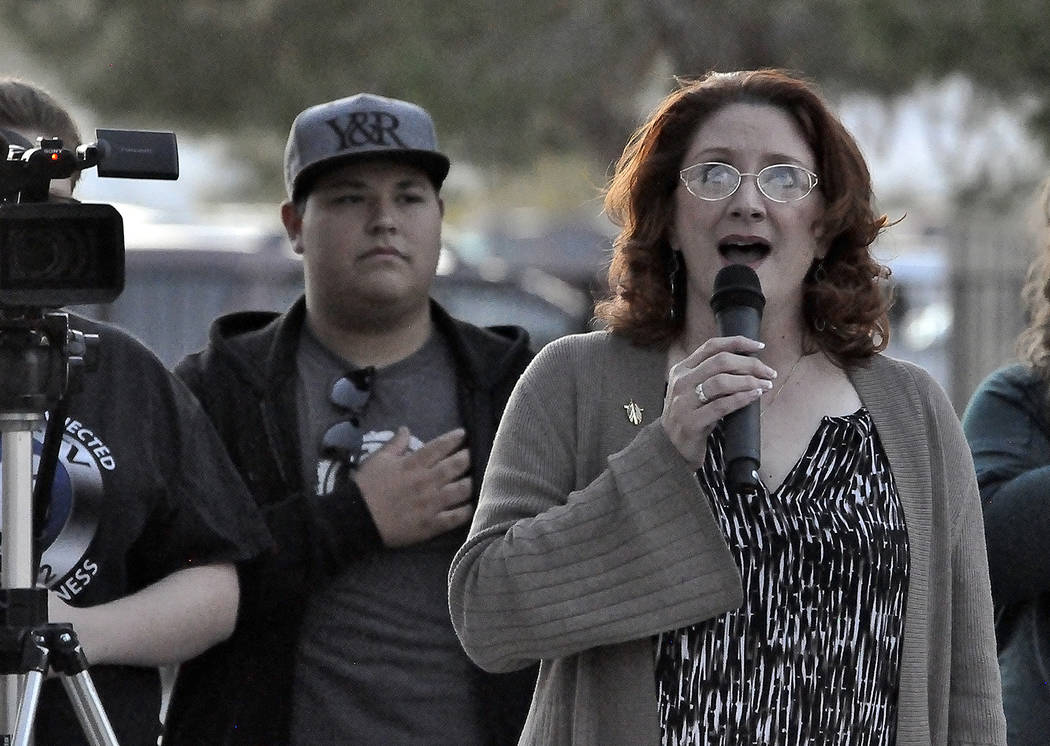 Horace Langford Jr./Pahrump Valley Times Local writer and performing artist Patti Diamond sings the National Anthem prior to the start of Saturday's Veterans Day ceremony held at Chief Tecopa Ce ...