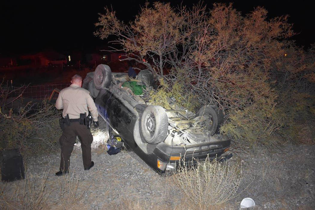Special to the Pahrump Valley Times  An unidentified man was flown to UMC Trauma in Las Vegas, following a two-vehicle collision just before 9:30 p.m. on Friday, in the area of Highway 372 and Ban ...