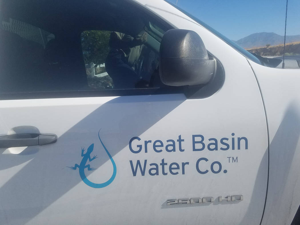 David Jacobs/Pahrump Valley Time A Great Basin Water Co. truck as seen in Pahrump this past summer. The company's president, Wendy Barnett, said this week that Great Basin had a main break due t ...