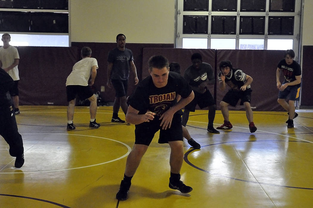 Horace Langford Jr./Pahrump Valley Times  Senior Cole Walker going through some drills with the team. He hopes to be at 182 for the wrestling season. He is on chicken and no carb diet until he get ...