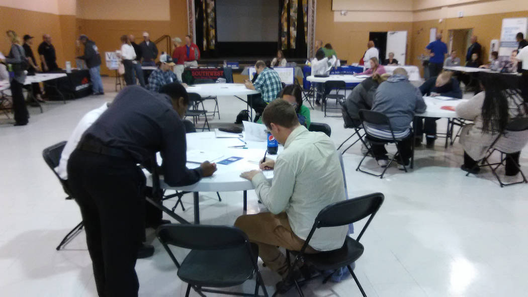 Selwyn Harris/Pahrump Valley Times  More than 20-area agencies and businesses participated in NyE Community Coalition's job fair on Friday Nov. 3. Officials said at least six individuals, seekin ...